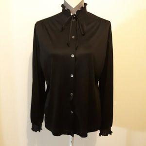 Vintage Black Silk Like Blouse